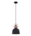 ALTA2: Interior single pendant light. ES Lamp. 72W MATT Black BELL, Copper Highlights OD225mm x H290mm 3m cable. CLA Lighting