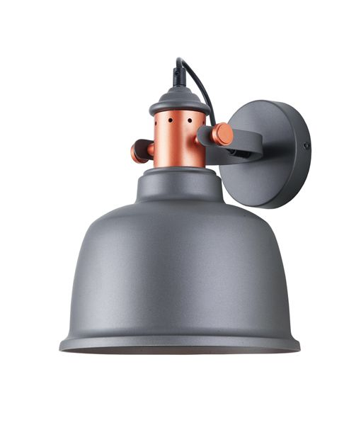 ALTA3W: Interior surface mounted wall lamps. ES Lamp. 72W Grey Adj BELL (with copper Highlights) H270mm x OD225mm WTY 1YR