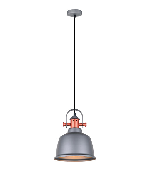 ALTA3: Interior single pendant light. ES Lamp 72W MATT GREY BELL, Copper Highlights OD225mm x H290mm 3m cable. CLA Lighting