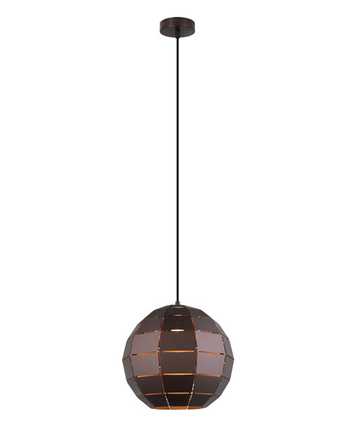 ARMIS3: Interior single pendant light. ES Lamp. 72W Coffee Tiled Wine Glass OD300mm x H270mm 3m Cable. CLA Lighting.