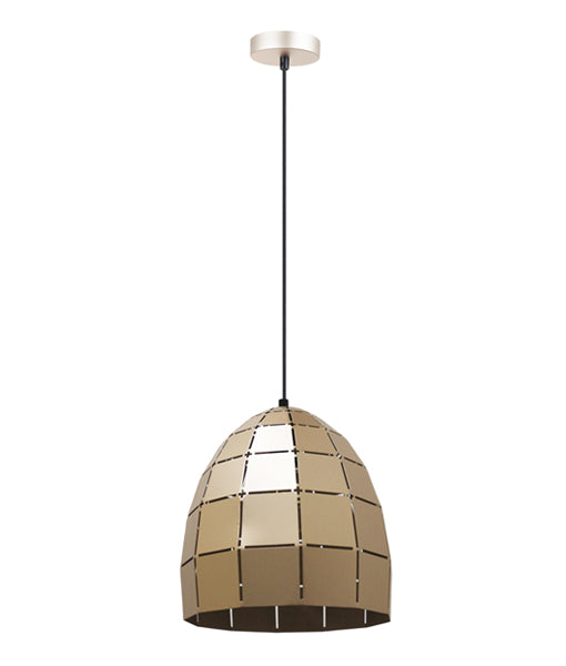 ARMIS5: Interior single pendant light. ES Lamp 72W Champagne Gold Tiled Ellipse OD250mm x H255mm 3m cable. CLA Lighting.