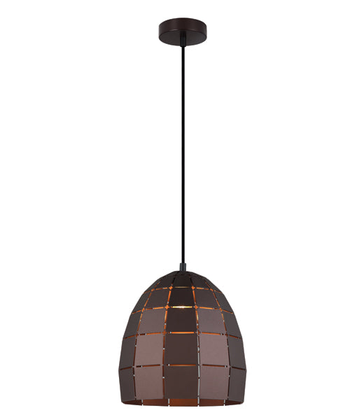 ARMIS6: Interior single pendant light. ES Lamp. 72W Coffee Tiled Ellipse OD250mm x H255mm 3m cable. CLA Lighting.