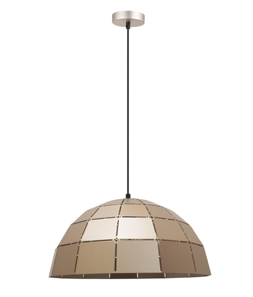 ARMIS8: Interior single pendant light. ES Lamp. 72W Champagne Gold Tiled Dome OD400mm X H200mm 3m cable. CLA Lighting.