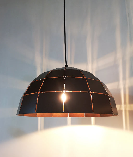 ARMIS9: Interior single pendant light. ES Lamp. 72W Coffee Tiled Dome OD400mm X H200mm 3m cable. CLA Lighting.