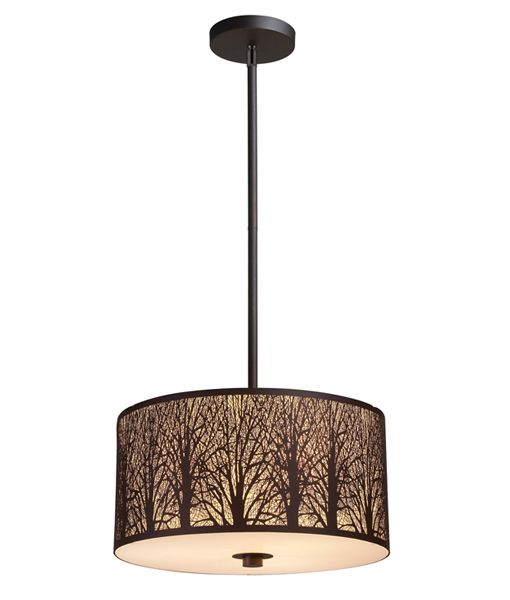 AUTUMN02: Interior single pendant lights. ES x 3 60W LGE RND Bronze with Amber Lining White Int. Glass Diffuser OD400mm x H200mm (Rods)