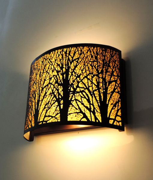 AUTUMN03W: Interior single wall lamp. SES x 2 60W Curved Aged Bronze with Amber Lining OD280mm x H200mm. CLA Lighting