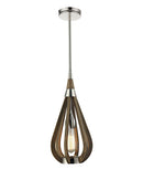 BONITO1: Interior single pendant light. ES 60W TAUPE WOOD Small TEAR DROP OD180mm x H395mm (Rods 457mm + 305mm + 150mm)