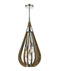 BONITO2: Interior single pendant light. ES x 3 60W TAUPE WOOD Medium TEAR DROP OD355mm x H768mm (Rods 610mm + 305mm + 150mm)