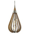 BONITO3: Interior single pendant light. ES x 6 60W TAUPE WOOD Large TEAR DROP OD492mm x H1076mm (Rods 610mm + 305mm + 150mm)