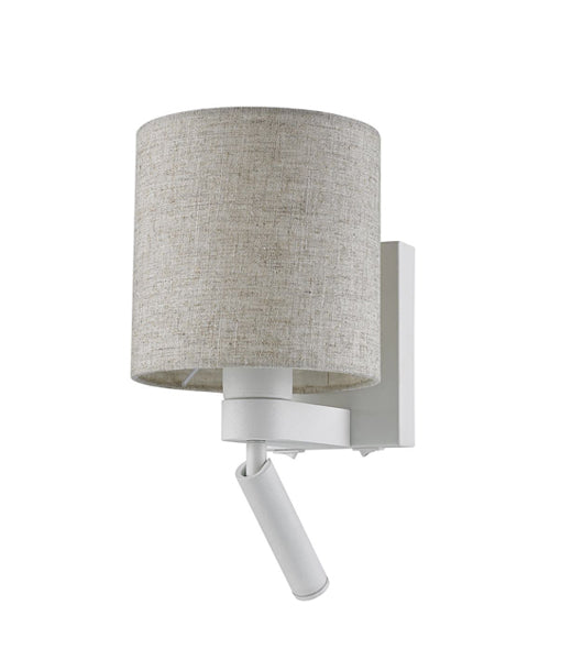BRIGHTON01, BRIGHTON02:  Interior E27 surface mount wall light + LED reading light. ES (60W) Shade, (3W) Reading Light. 3000K or 5000K. White