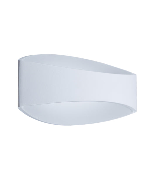 CANNES: Interior LED surface mounted wall light. Matt White CURVED UP/Down 6W 120D 3000K (468 lumens) IP20. CLA Lighting