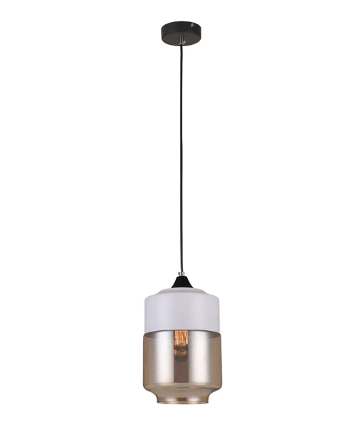 CASA1: Interior single pendant light. ES 72W WH with AMBER JAR OD180mmx H256mm 3m cable. CLA Lighting