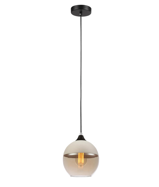 CASA2: Interior single pendant light. ES 72W WH with AMBER WINE GLASS OD200mm x H195mm 3m cable. CLA Lighting