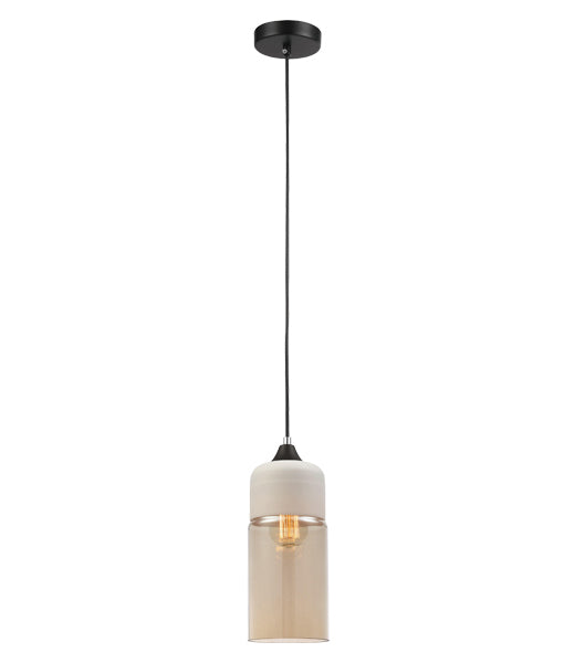 CASA3: Interior single pendant light. ES 72W WH with AMBER OBLONG OD130mm x H285mm 3m cable. CLA Lighting