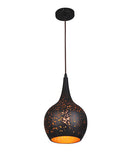 CELESTE1: Interior single pendant light. ES 40W BLK BELL with Gold interior OD 200mm x L310mm 3m cable. CLA Lighting