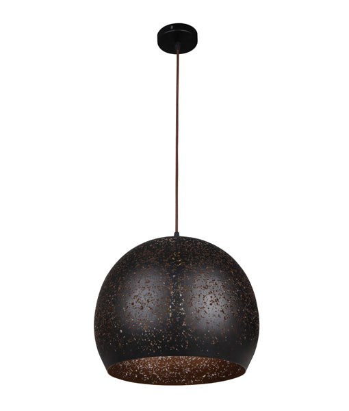 CELESTE2: Interior single pendant light. ES 40W BLK Dome with Gold Interior OD350mm x L280mm 3m cable. CLA Lighting