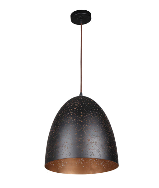 CELESTE3: Interior single pendant light. ES 40W BLK Ellipse with Gold Interior OD305mm x L305mm 3m cable. CLA Lighting