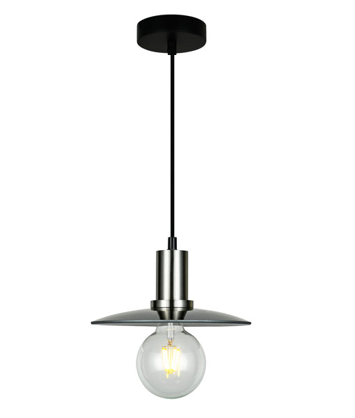 CHAPEAU1: Interior PENDANT ES 72W Smoke Glass Coolie with S/C Highlight. CLA Lighting