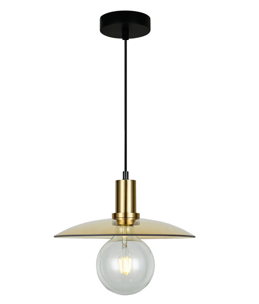 CHAPEAU4: Interior PENDANT ES 72W Amber Glass Coolie with Antique Brass Highlight. CLA Lighting