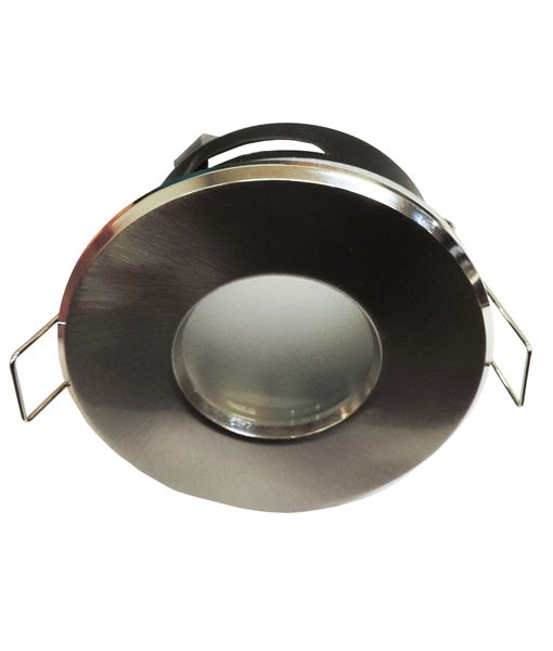 CLAH324- Sealed Bathroom MR16 Downlight Fittings. Satin chrome or gloss white finish. IP rating: IP54