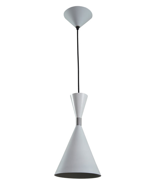 CLASSIC2A: Interior single pendant light. ES 40W WHITE CONE OD160mm x L300mm 3m cable. CLA Lighting.