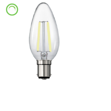 FIL038: LED Candle lamp. E14, 3W, AC240V, 4000K, 300 Lumens, 360 beam angle, dimmable. Double Insulation. Azoogi