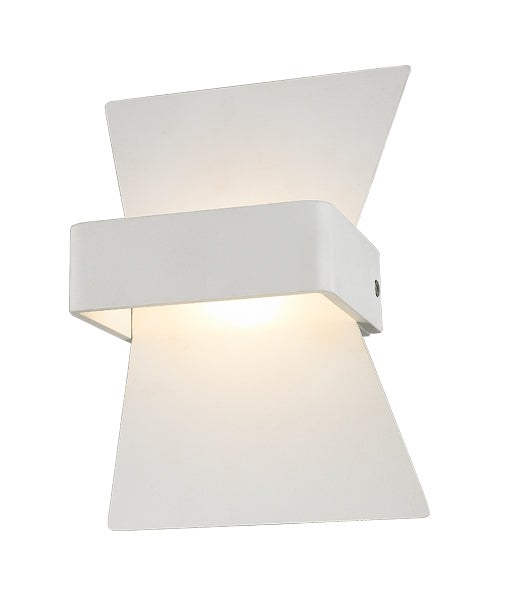 DAVOS: Interior LED surface mounted wall light. MATT White BOW 6W 120D 3000K (254 Lumens) WTY 2YR. IP20. CLA Lighting.