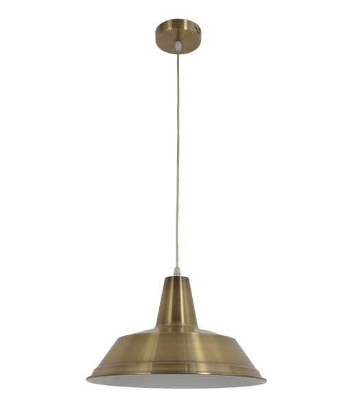 DIVO1: Interior single pendant light. ES Lamp 60W Antique Brass Angled Dome OD355MM x L250mm 3m cable. CLA Lighting.