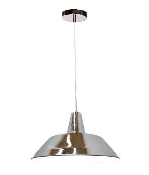DIVO2: Interior single pendant light. ES Lamp 60W Chrome Angled Dome OD355mm x L250mm 3m cable. CLA Lighting.