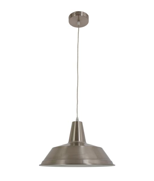 DIVO3: Interior single pendant light. ES Lamp 60W Satin Chrome Angled Dome OD350mm x L250mm 3m cable. CLA Lighting.