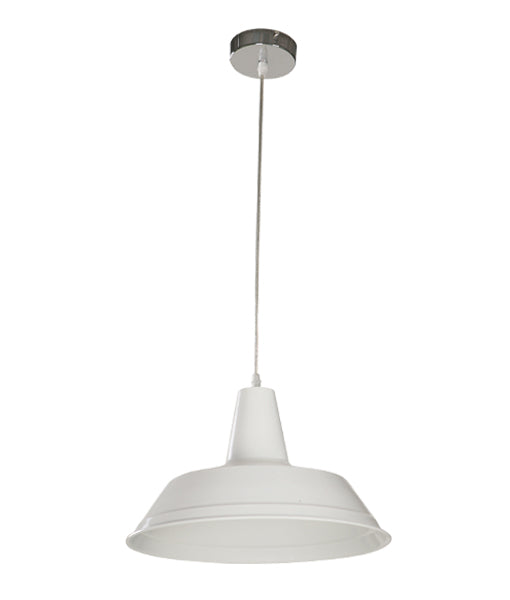 DIVO4: Interior single pendant light. ES Lamp 60W White Angled Dome OD355mm x L250mm 3m cable. CLA Lighting.