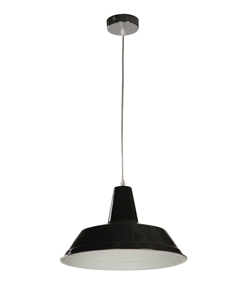 DIVO5: Interior single pendant light. ES Lamp 60W Black Angled Dome OD355mm x L250mm 3m cable. CLA Lighting.