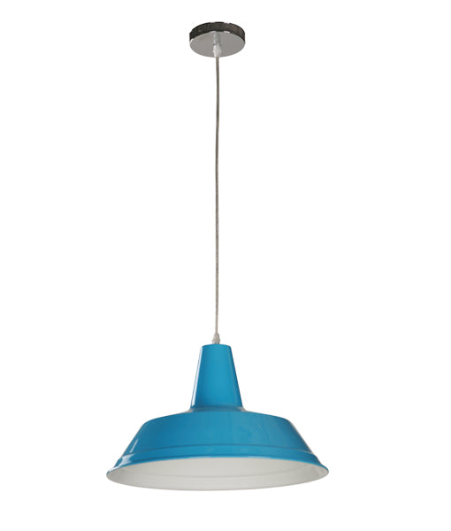 DIVO6: Interior single pendant light. ES Lamp 60W BLUE Angled Dome OD355mm x L250mm 3m cable. CLA Lighting.