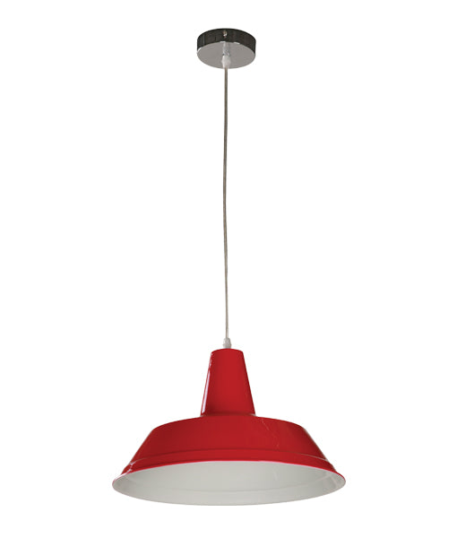 DIVO7: Interior single pendant light. ES Lamp 60W RED Angled Dome OD355mm x L250mm 3m cable. CLA Lighting.