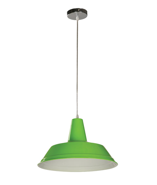 DIVO8: Interior single pendant light. ES Lamp 60W GREEN Angled Dome OD355mm x L250mm 3m cable. CLA Lighting.