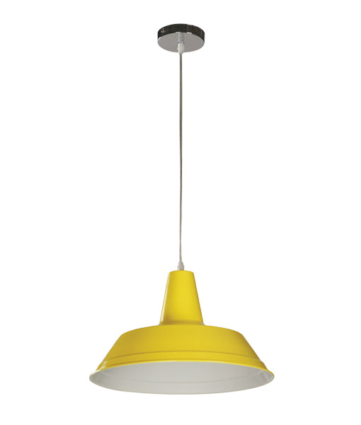 DIVO9: Interior single pendant light. ES Lamp 60W YELLOW RND OD355mm x H250mm 3m cable. CLA Lighting.