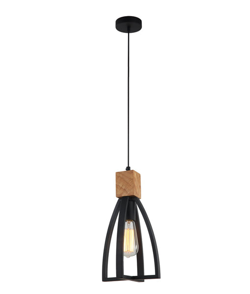 FARO1: Interior single pendant light. ES Lamp. 72W MATT Black WOOD Convex Cone D180mm x H330mm 3m cable. CLA Lighting.