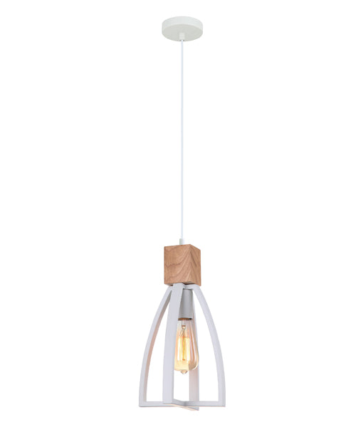 FARO2: Interior single pendant light. ES Lamp 72W MATT White WOOD Convex Cone D180mm x H330mm 3m cable. CLA Lighting.