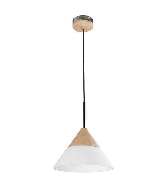 FINN2: Interior single pendant light. ES Lamp. 40W BLONDE WOOD/ OPAL GLASS SML CONE OD265mm x H185mm 3m cable. CLA Lighting.