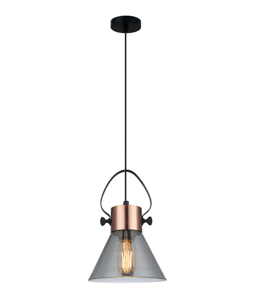FUMOSO1: Interior single pendant light. ES Lamp 60W Copper Plate with smoke Glass Flat Top Cone OD180mm x H280mm 3m cable CLA