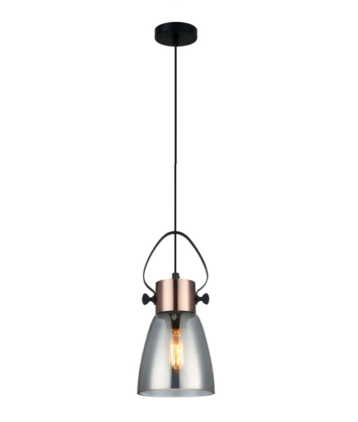 FUMOSO2: Interior single pendant light. ES Lamp 60W Copper Plate with smoke Glass Flat Top Ellipse OD145mm x H300mm 3m cable CLA
