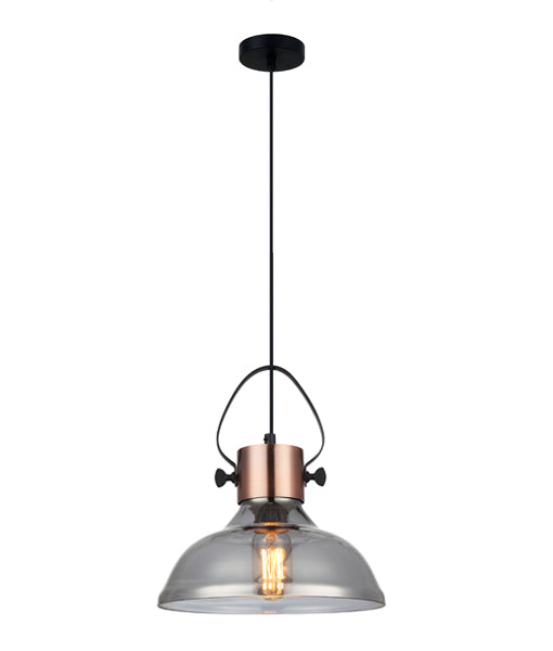 FUMOSO3: Interior single pendant light. ES Lamp 60W Copper Plate with smoked Glass Dome OD250mm x H270mm 3m cable CLA