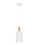 HORTEN1: Interior single pendant light. ES Lamp. 72W MATT White OBLONG OD150mm x H350mm 3m cable. CLA Lighting. 1yr warranty
