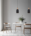 HORTEN1/ HORTEN2: Interior single pendant light. ES Lamp. 72W MATT White/Black OBLONG OD150mm x H350mm 3m cable. CLA Lighting.