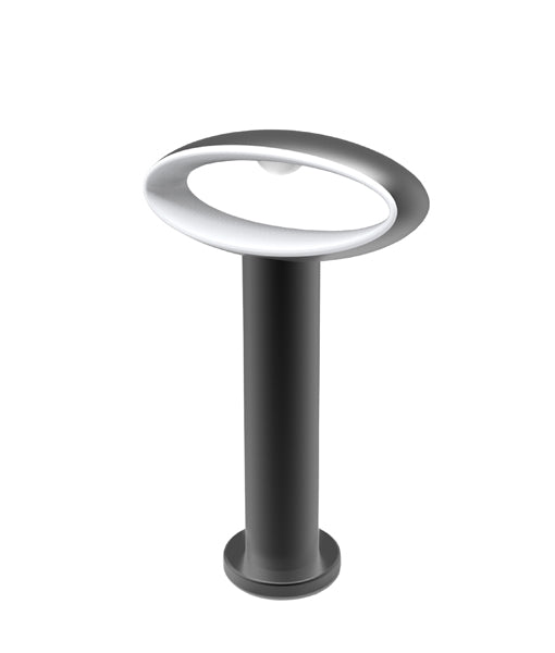 HORUS2: Exterior LED Surface Mounted Wall & Bollard lights. Matt Black Open Oval 3000K 9W IP54.