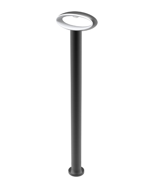 HORUS4: Exterior LED Surface Mounted Wall & Bollard lights. Matt Black Open Oval 3000K 9W IP54