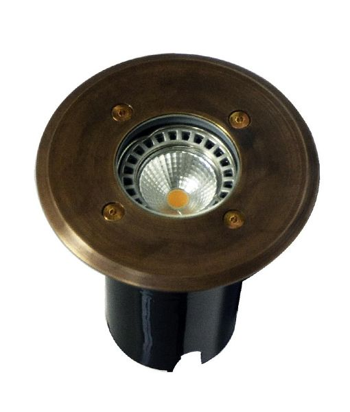 IGMLBR: Exterior 12V MR16 recessed inground up lights. Brass finish. Round OD Faceplate 120mm IP67