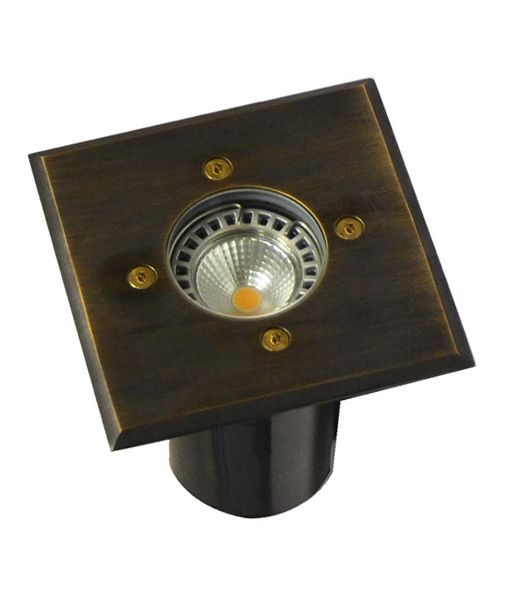 IGMLSQBR: Exterior 12V MR16 recessed inground up lights. Brass finish. Square OD Faceplate 120mm IP67