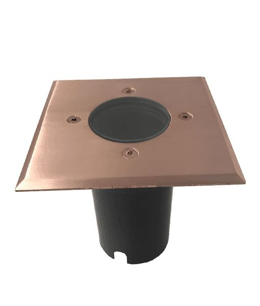IGMLSQC: Exterior 12V MR16 recessed inground up lights. Copper Square OD Faceplate 120mm IP67