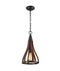 KHALEESI1: Interior single pendant light. ES 60W Oak Dark Red Wood Small BELL OD226mm x H462mm 3m chain. CLA Lighting